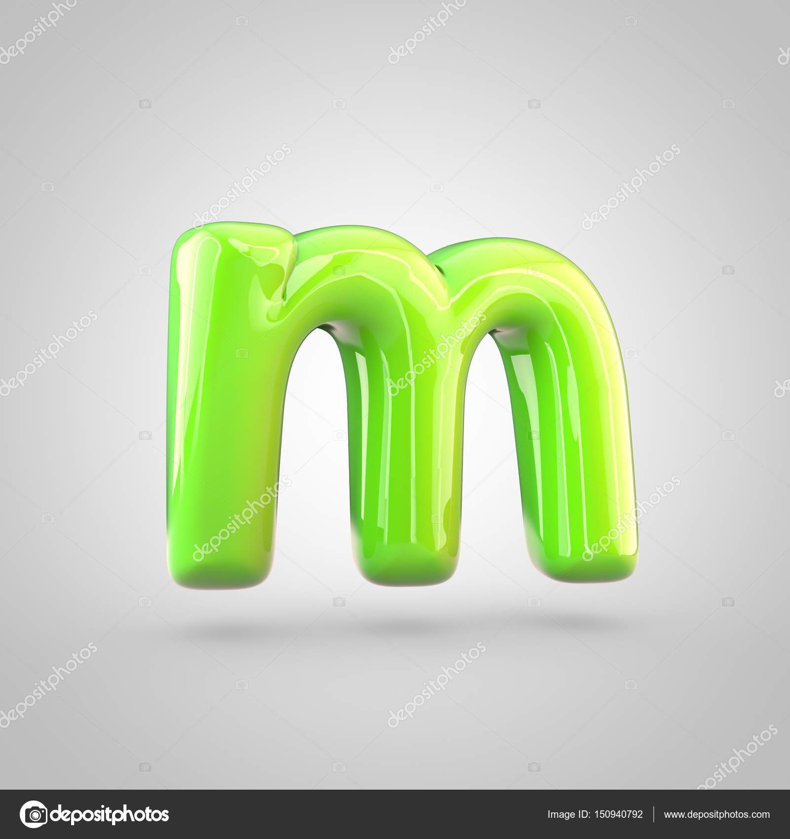glossy lime paint alphabet letter m lowercase 3d render of bubble twisted font with glint and ring light reflections isolated on white background