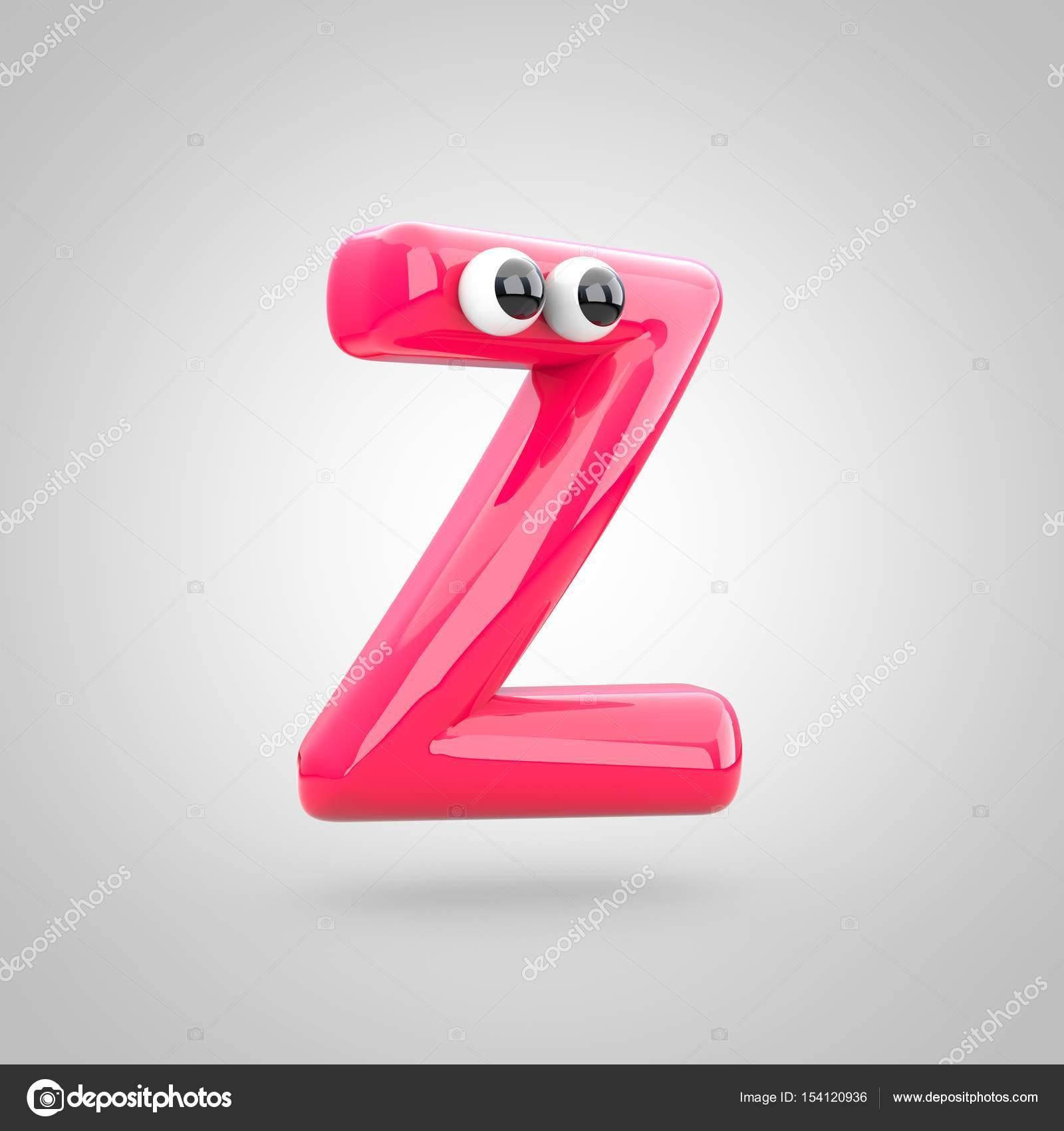 Graciosa rosa letra Z mayúscula con ojos. render 3D de fuente de burbuja  con reflejo aislado sobre fondo blanco — Foto de whitebarbie 10c87a9dbe249