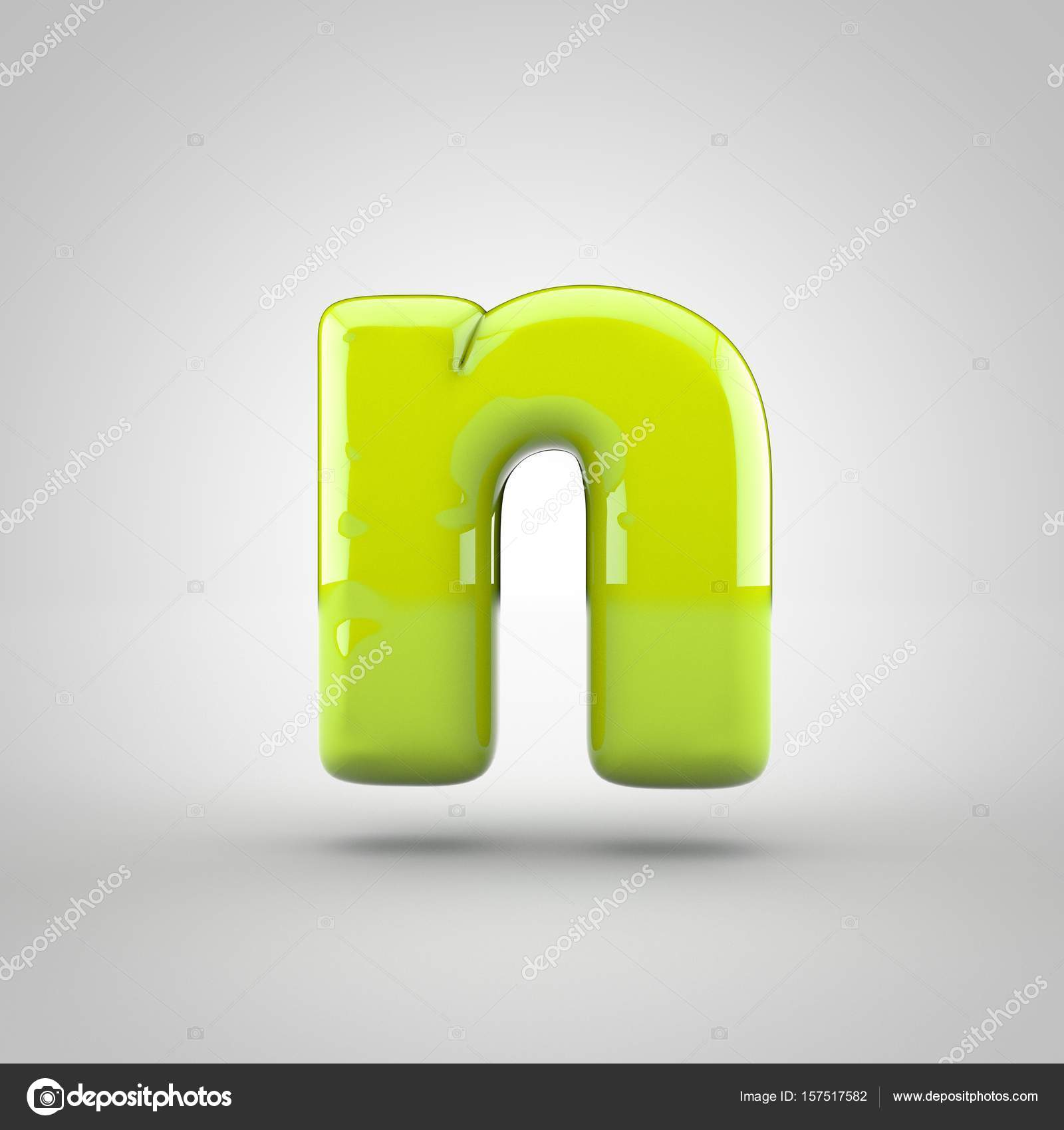 Glossy Lime Paint Letter N Lowercase Isolated On White Background