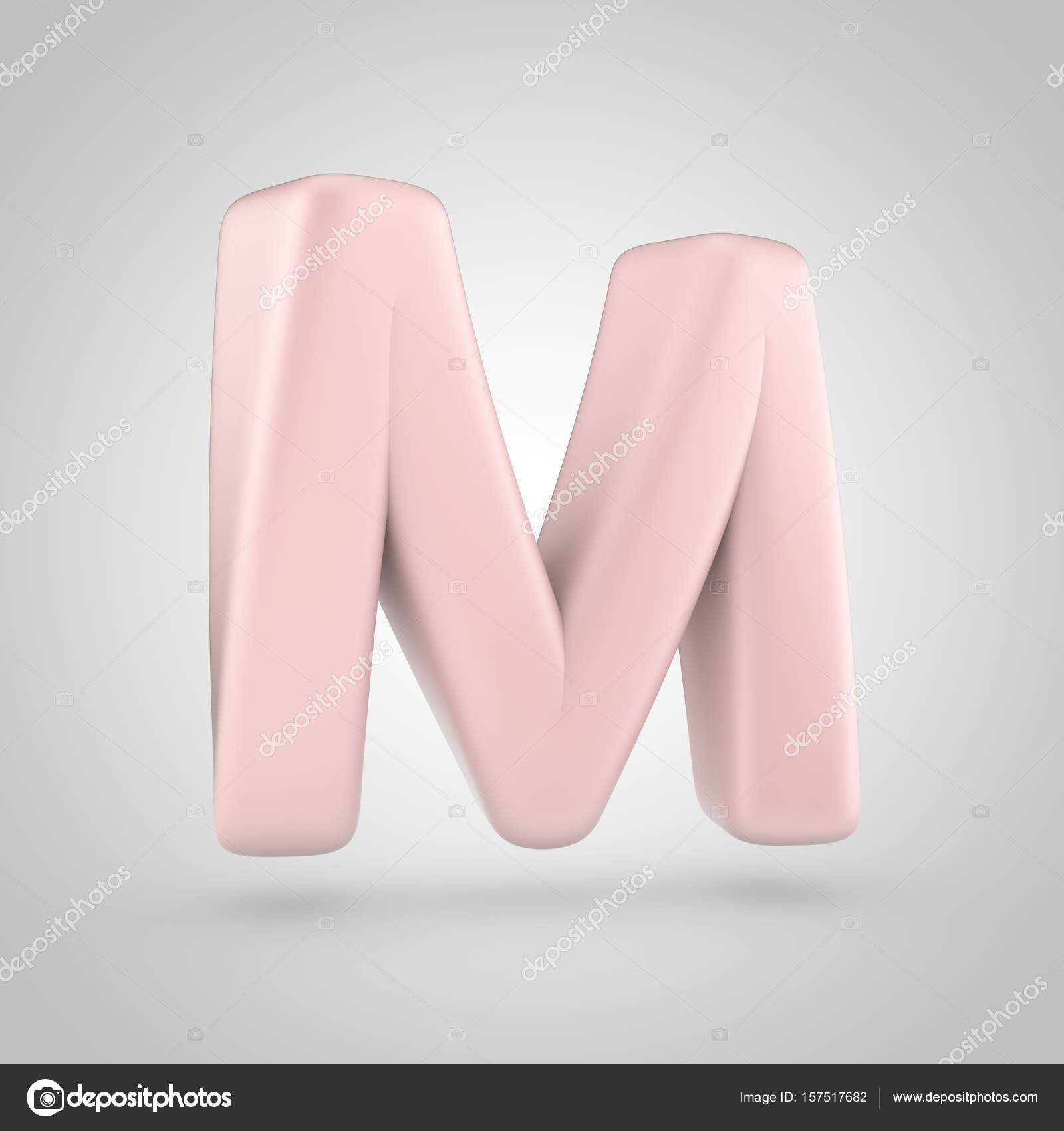 Millenium Pink color letter M uppercase isolated on white background ...