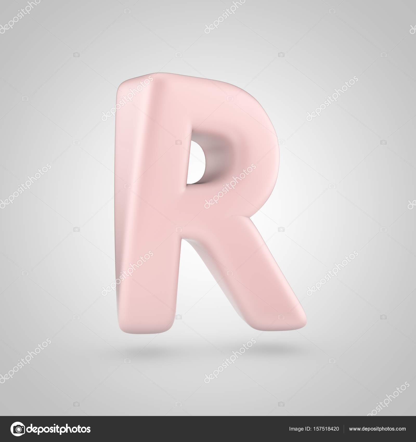 Millenium Pink color letter R uppercase isolated on white background ...