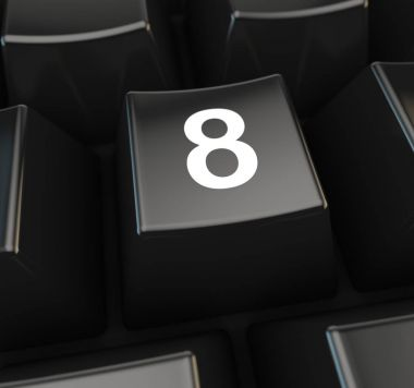 Number 8 on computer keyboard button