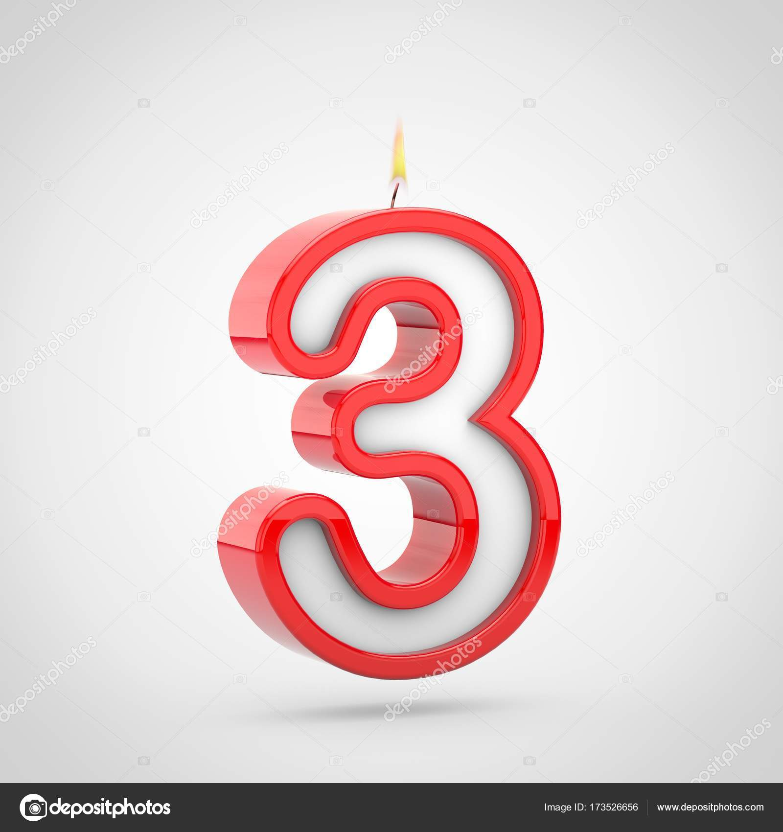 3D Render Of Birthday Candle Number 3 With Wick And Flame Isolated On White Background Photo By