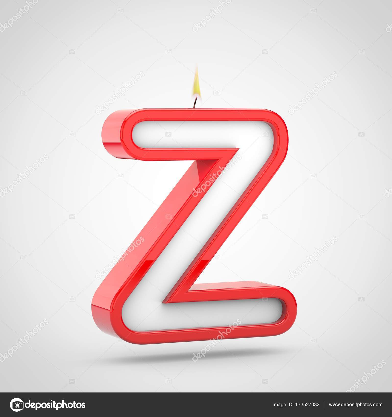 3D Render Of Birthday Candle Letter Z Uppercase With Wick And Flame Isolated On White Background Photo By Whitebarbie