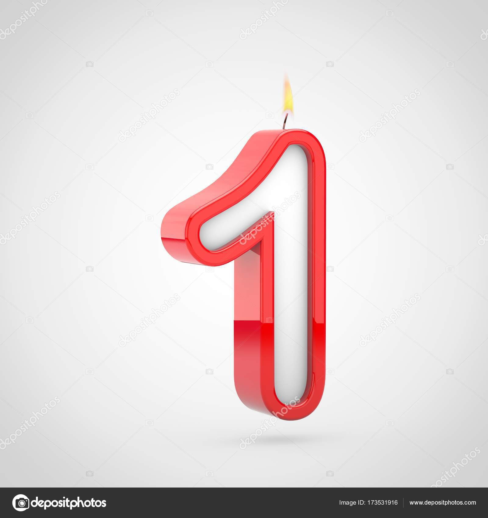 3D Render Of Birthday Candle Number 1 With Wick And Flame Isolated On White Background Photo By Whitebarbie