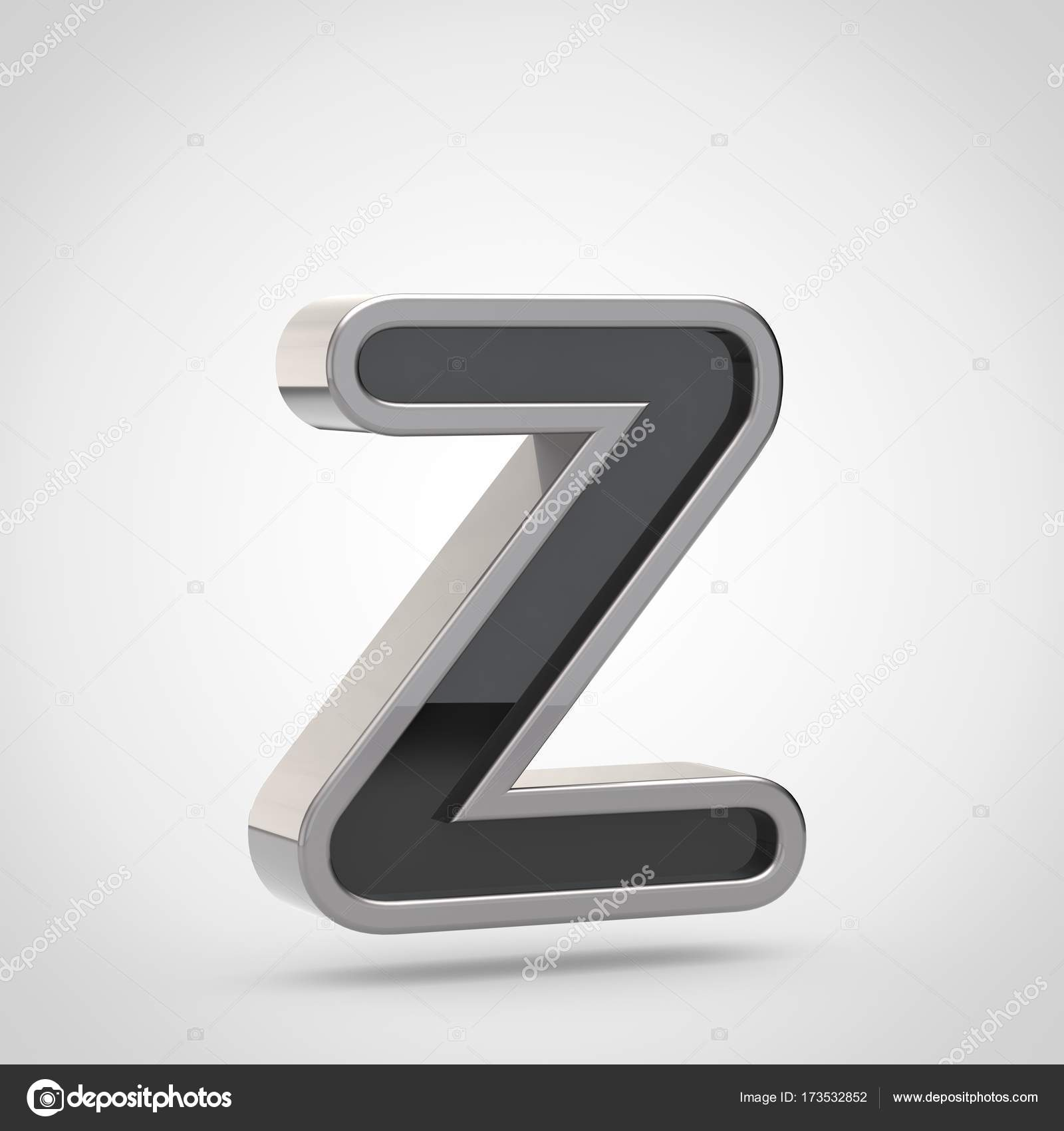 Letter z uppercase with silver outline stock photo whitebarbie 3d render of letter z uppercase with black font and silver outline isolated on white background photo by whitebarbie spiritdancerdesigns Image collections