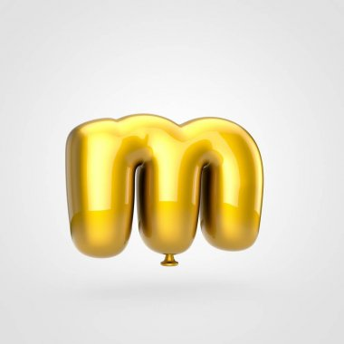3d render of glossy golden inflated font with glint on white background, balloon style lowercase letter M