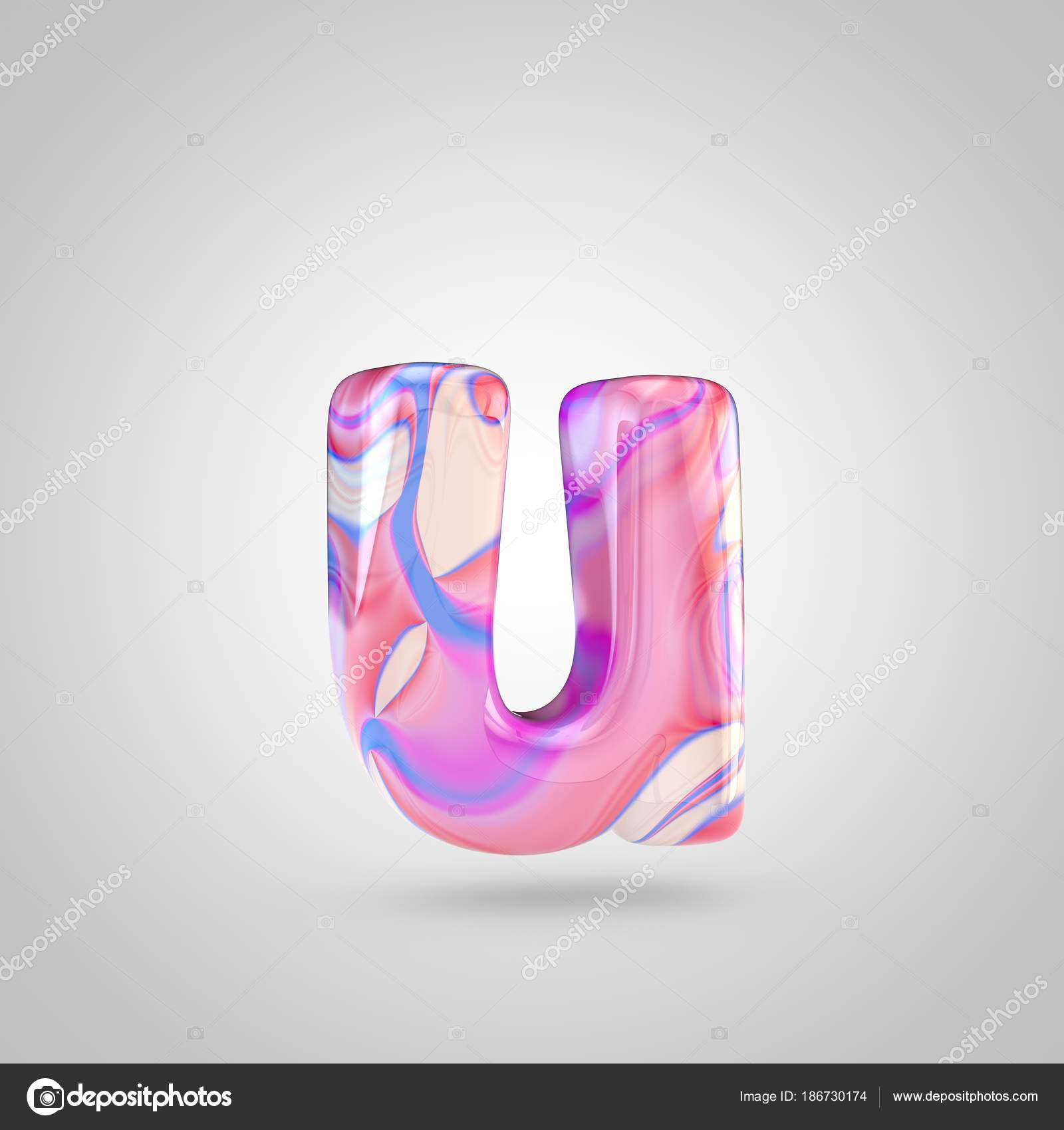 Glossy holographic pink letter U — Stock Photo © whitebarbie #186730174