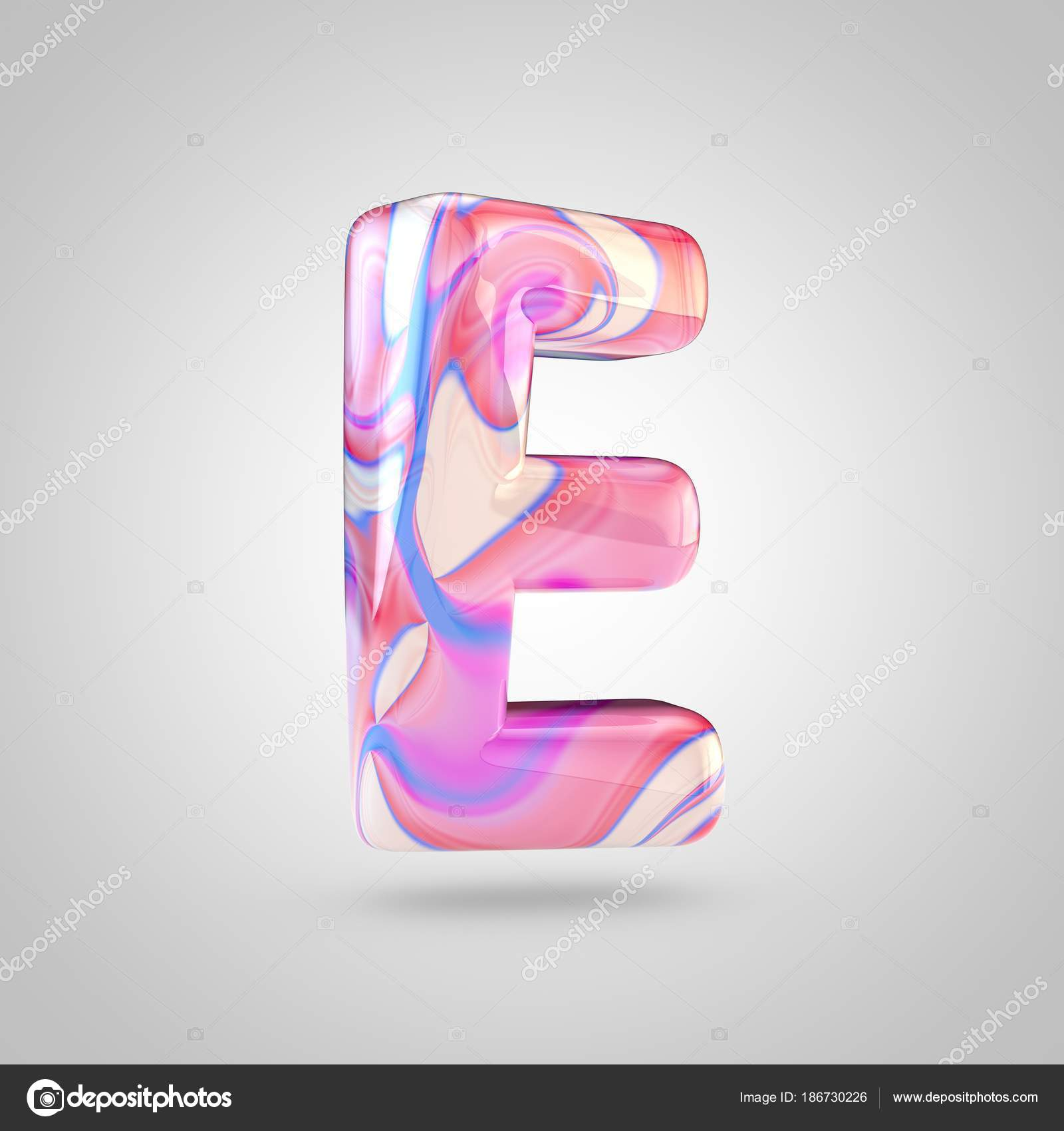 Glossy holographic pink letter E — Stock Photo © whitebarbie #186730226