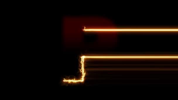 P betű felfedi. Tűz plazma izzó mozgás törlőkendő középre. 4k 60 fps videó renderelés felvétel