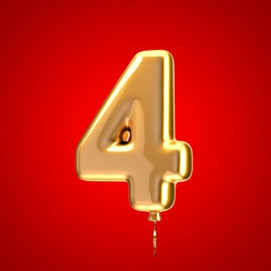 Gold balloon font number 4. 3D rendered alphabet isolated on red background. Best for anniversary, birthday party, celebration.