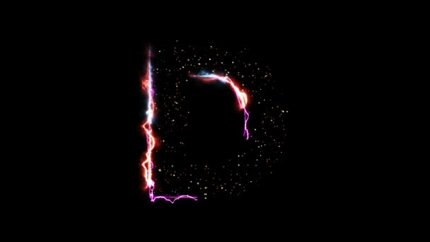 Electric hot fire letter D reveal with glittering light particles on black background