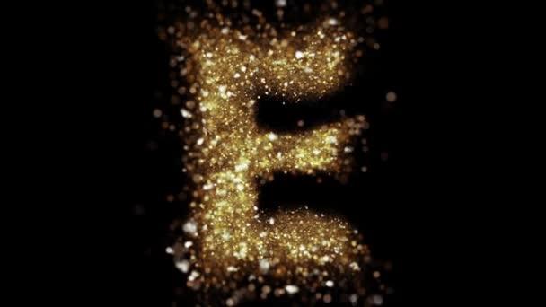 Golden particles letter E fly into camera. Zlatá třpytivá abeceda odhalena.