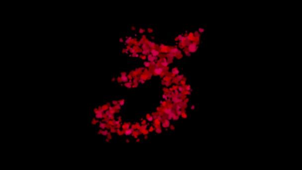Číslo 3 z červených srdcí. odhaluje v centru a slábne s větrem, Valentýna koncept