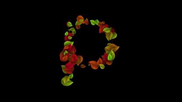 P betű kisbetűs színes levelekkel