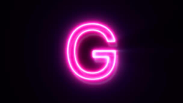Růžové neonové písmo G velké písmo, symbol animované abecedy na černém pozadí.