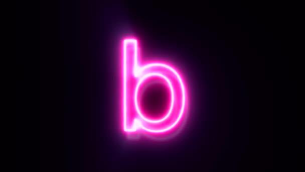 Růžové neonové písmo písmeno b malé písmo, symbol abecedy na černém pozadí.