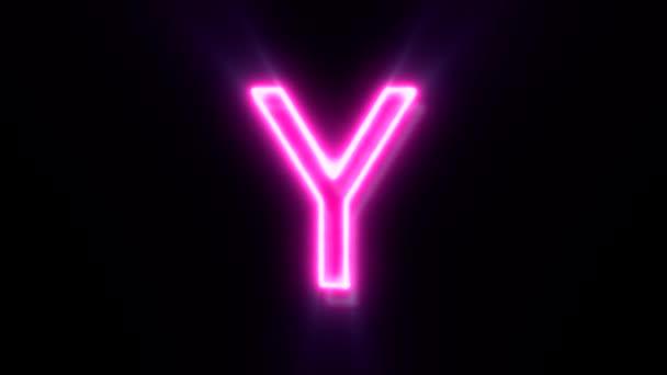 Růžové neonové písmo Y velké písmo, symbol animované abecedy na černém pozadí.