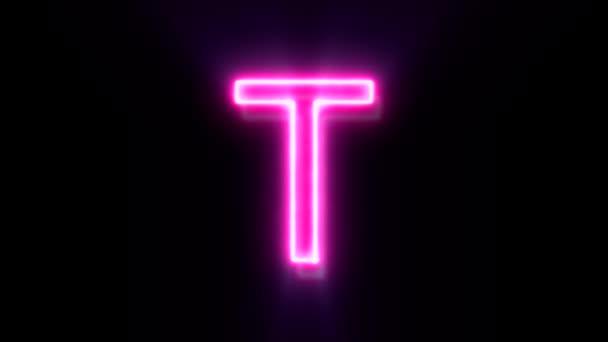 Růžové neonové písmo T velké písmo, symbol animované abecedy na černém pozadí.