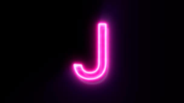 Růžové neonové písmo písmeno J velké, symbol abecedy na černém pozadí.