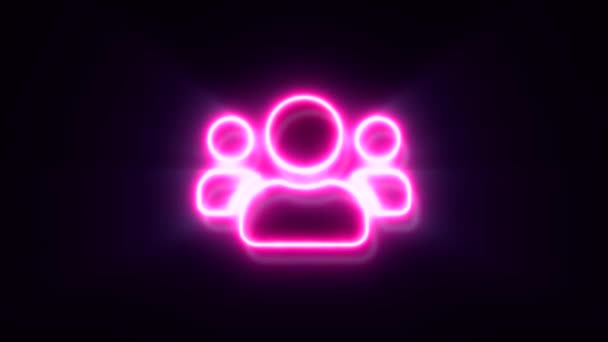 animated pink neon with group people symbol on black background.