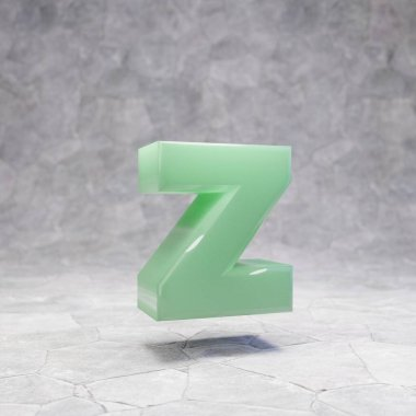 Jade letter Z lowercase on rocky backgrond. 3D rendered jade gemstone font. Best for jewelry advertising, anniversary, celebration.