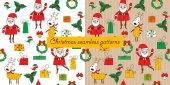 Vánoční bezešvé vzory s happy Santa a jelen