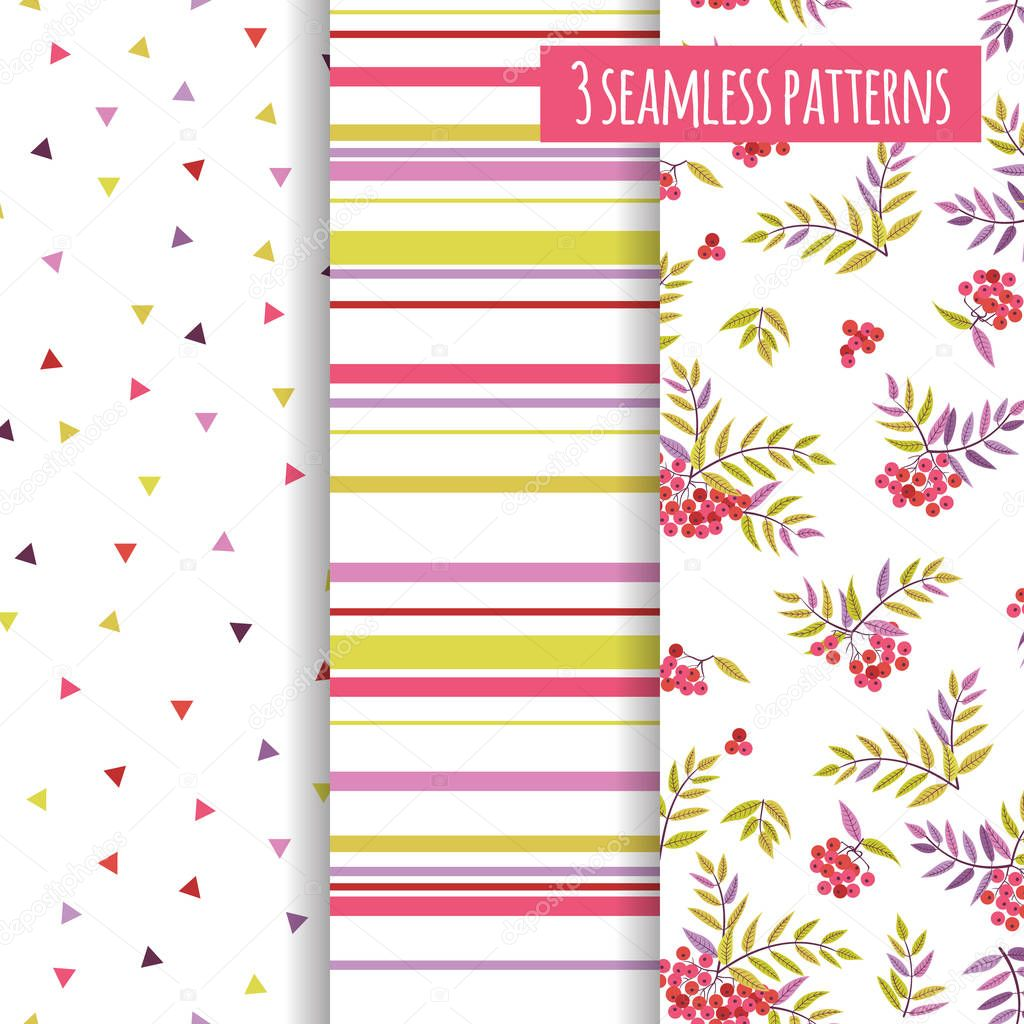 Set seamless patterns with geometric shapes and rowan.