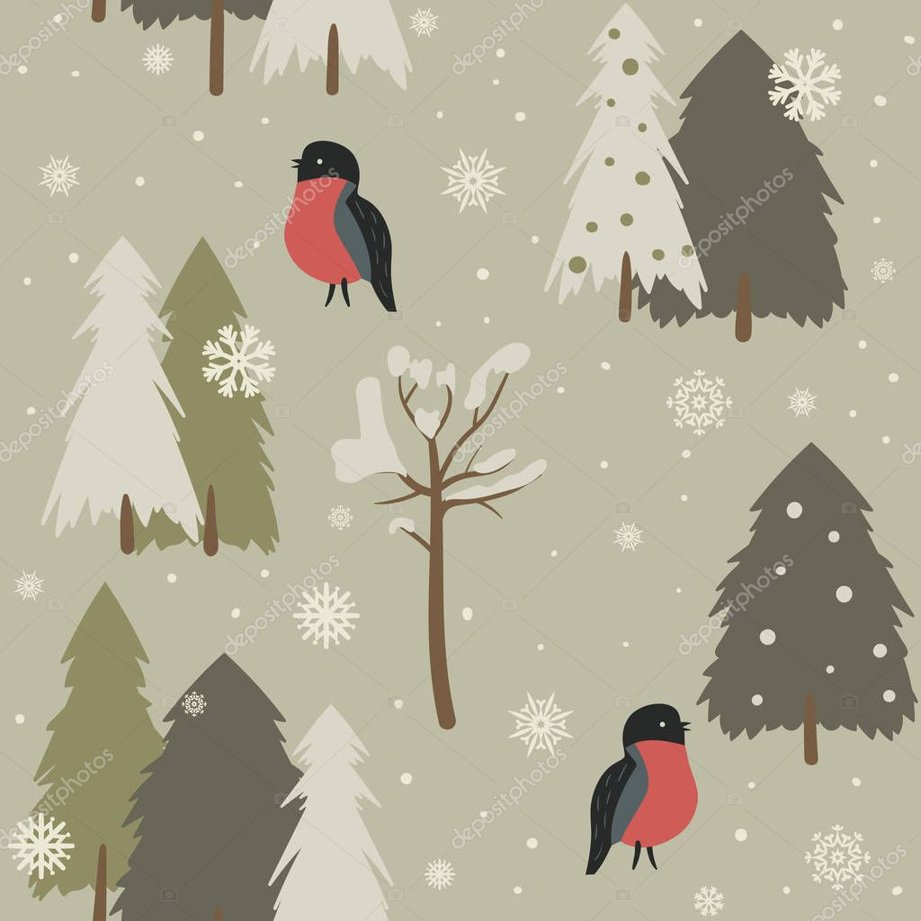 Seamless background with forest and bullfinch.