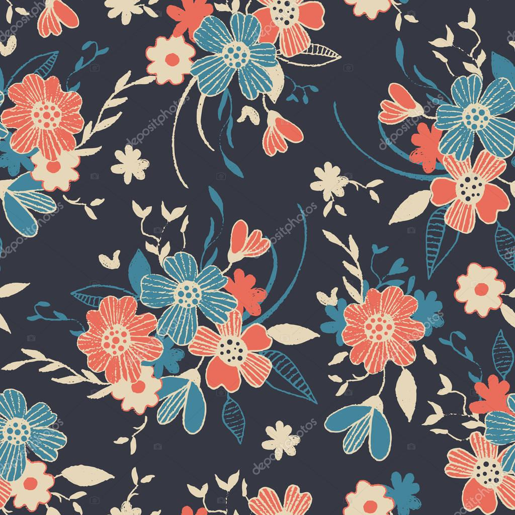 Hand-drawn endless floral pattern.