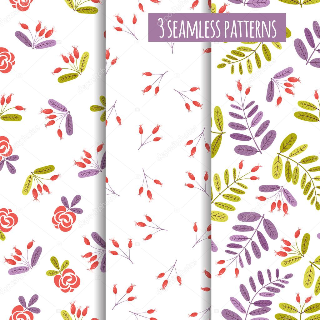 Set of seamless patterns with abstract wild rose.