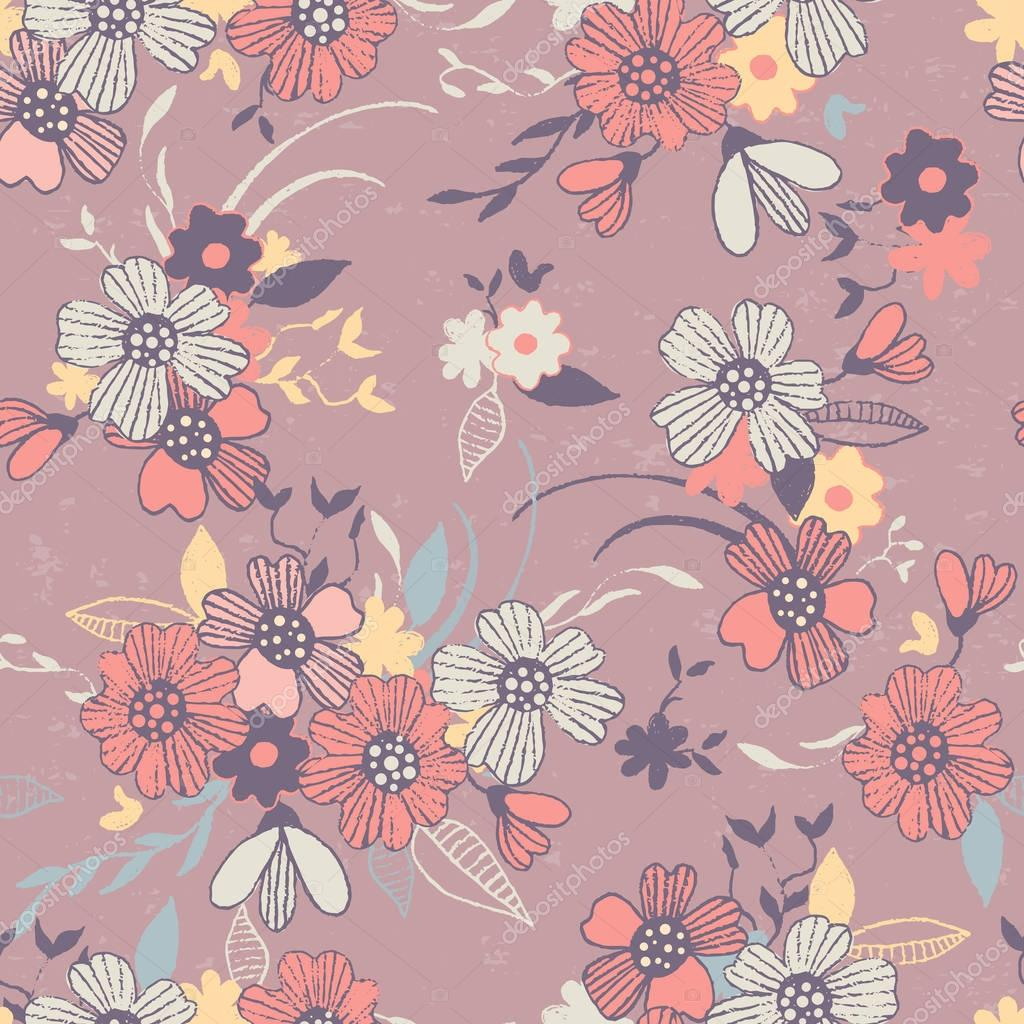 Seamless background with abstract flowers.