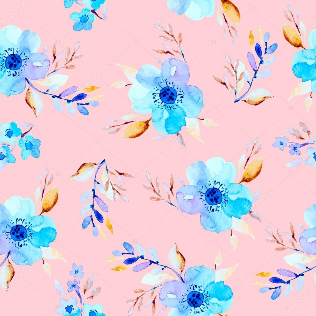 Watercolor seamless background with flowers.