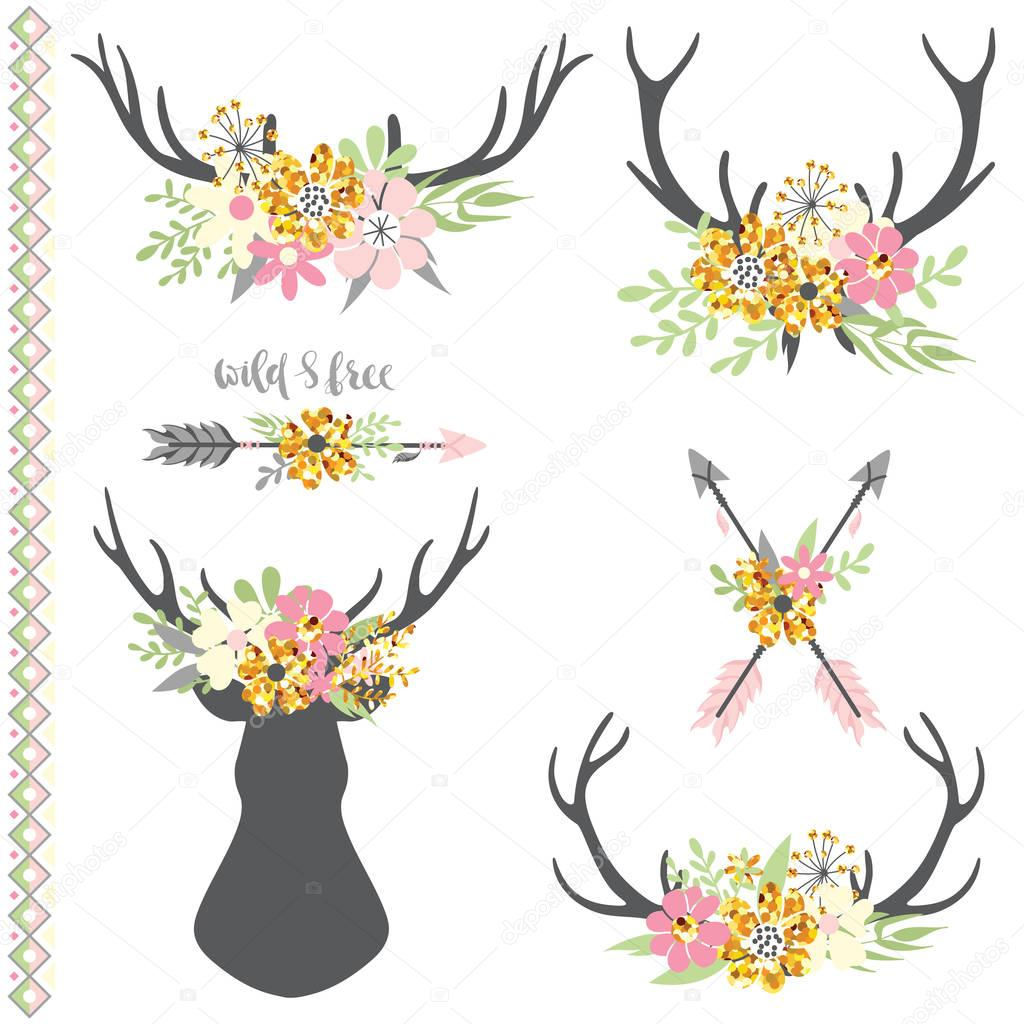 Collection of deer horns with flowers