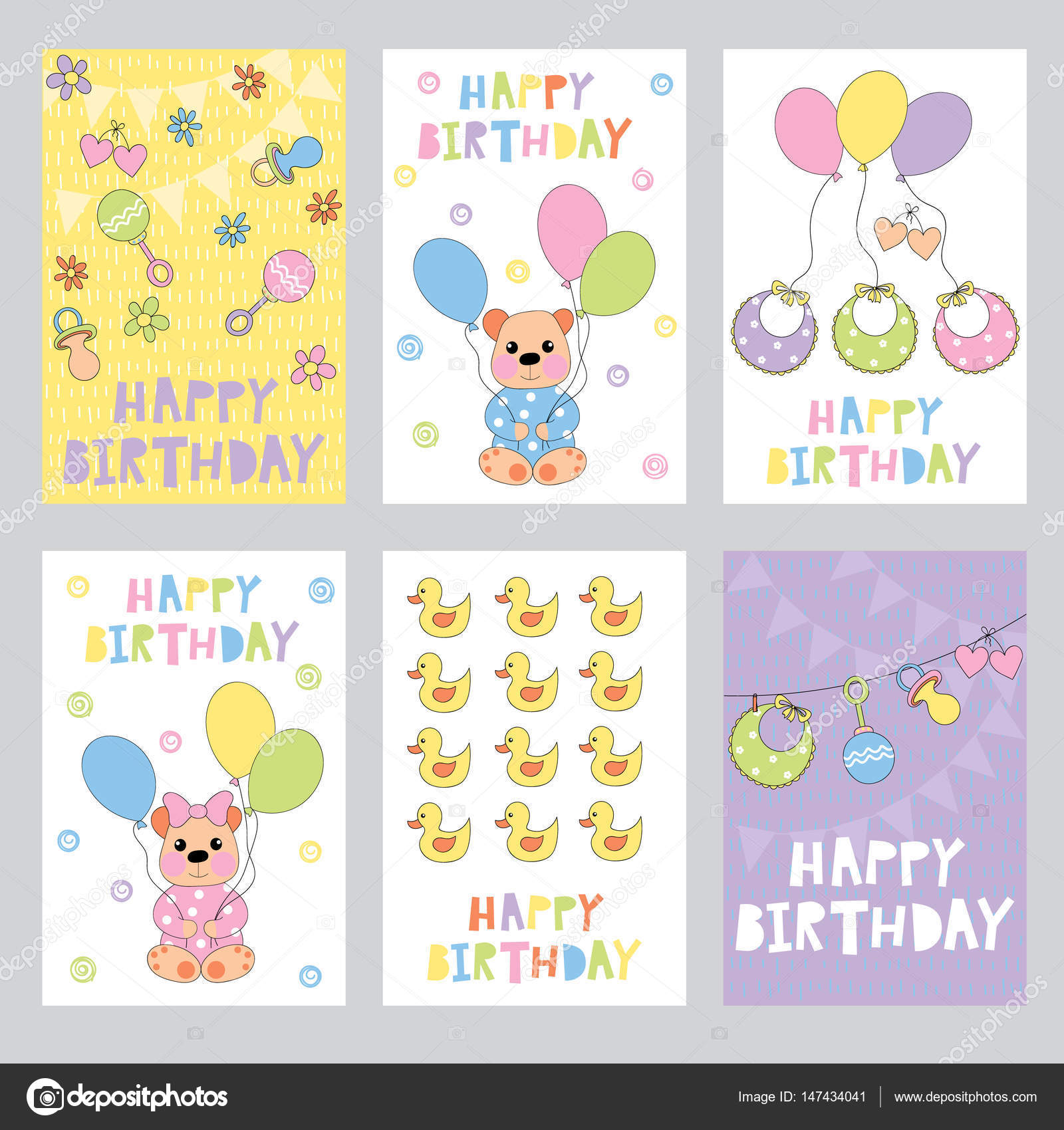 Set Of Birthday Cards For Baby Stock Vector Yulia337 147434041