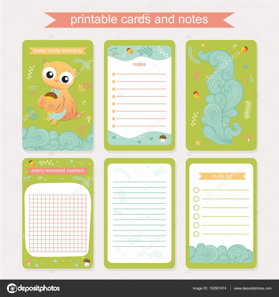 Diary Cover And Page Template With Owl Stock Vector