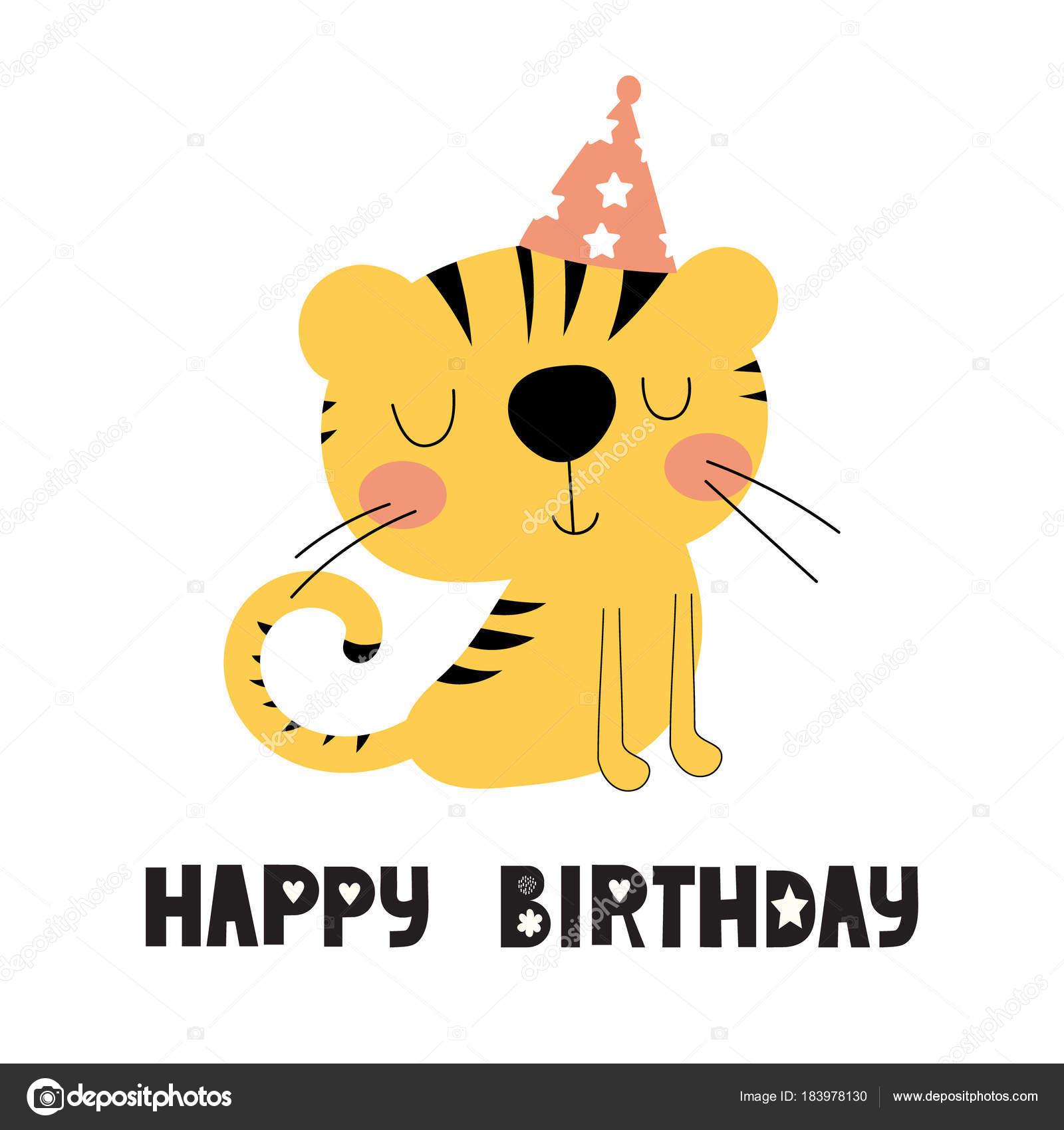 Geburtstagskarte mit niedlichen tiger — Stockvektor © Yulia337