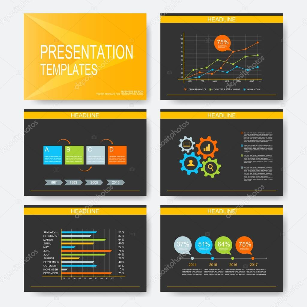 Black, yellow set of vector templates for presentation slides ...