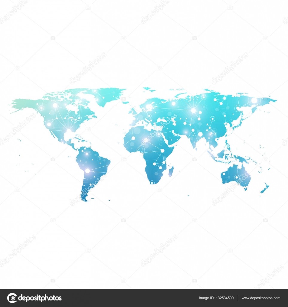 World map with global technology networking concept digital data world map with global technology networking concept digital data visualization lines plexus big data background communication scientific vector gumiabroncs Gallery