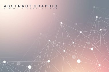 Geometric scientific background molecule and communication. Big data complex with compounds. Perspective graphic backdrop. Digital data visualization. Minimalistic chaotic design, vector illustration.
