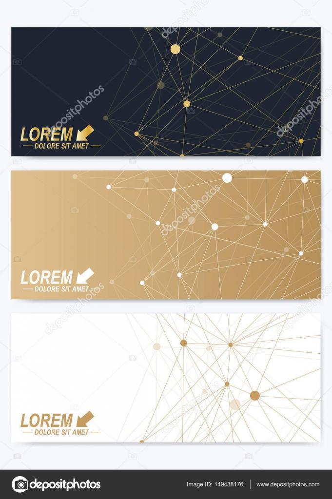 sistema de tarjetas horizontales. Presentación geométrica de oro ...
