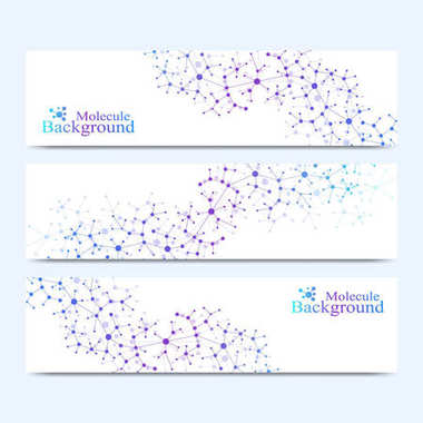 Modern set of vector banners. Molecule DNA and communication background for medicine, science, technology, chemistry. Cybernetic dots. Lines plexus
