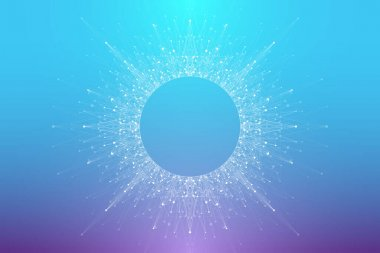Expansion of life. Colorful explosion background with connected line and dots, wave flow. Visualization Quantum technology. Abstract graphic background explosion, motion burst, vector illustration.