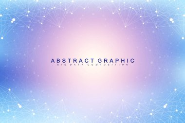 Technology abstract background with connected line and dots. Big data visualization. Artificial Intelligence and Machine Learning Concept Background. Analytical networks. Vector illustration
