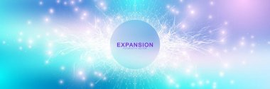 Expansion of life. Colorful explosion background with connected line and dots, wave flow. Visualization Quantum technology. Abstract graphic background explosion, motion burst, vector illustration