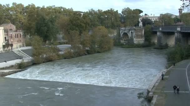 The Bridges over River Tiber in Rome, camera moving
