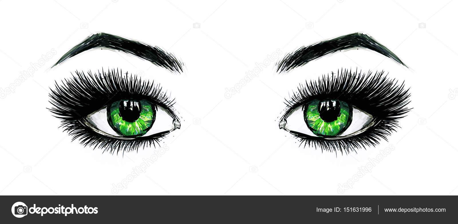 Dibujos Ojos Bonitos Hermosos Ojos Verdes Femenino Abiertos Con