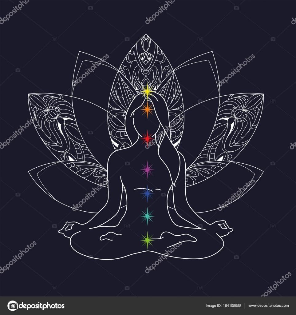 Woman Yoga Pose Lotus Position Silhouette Vector Illustration