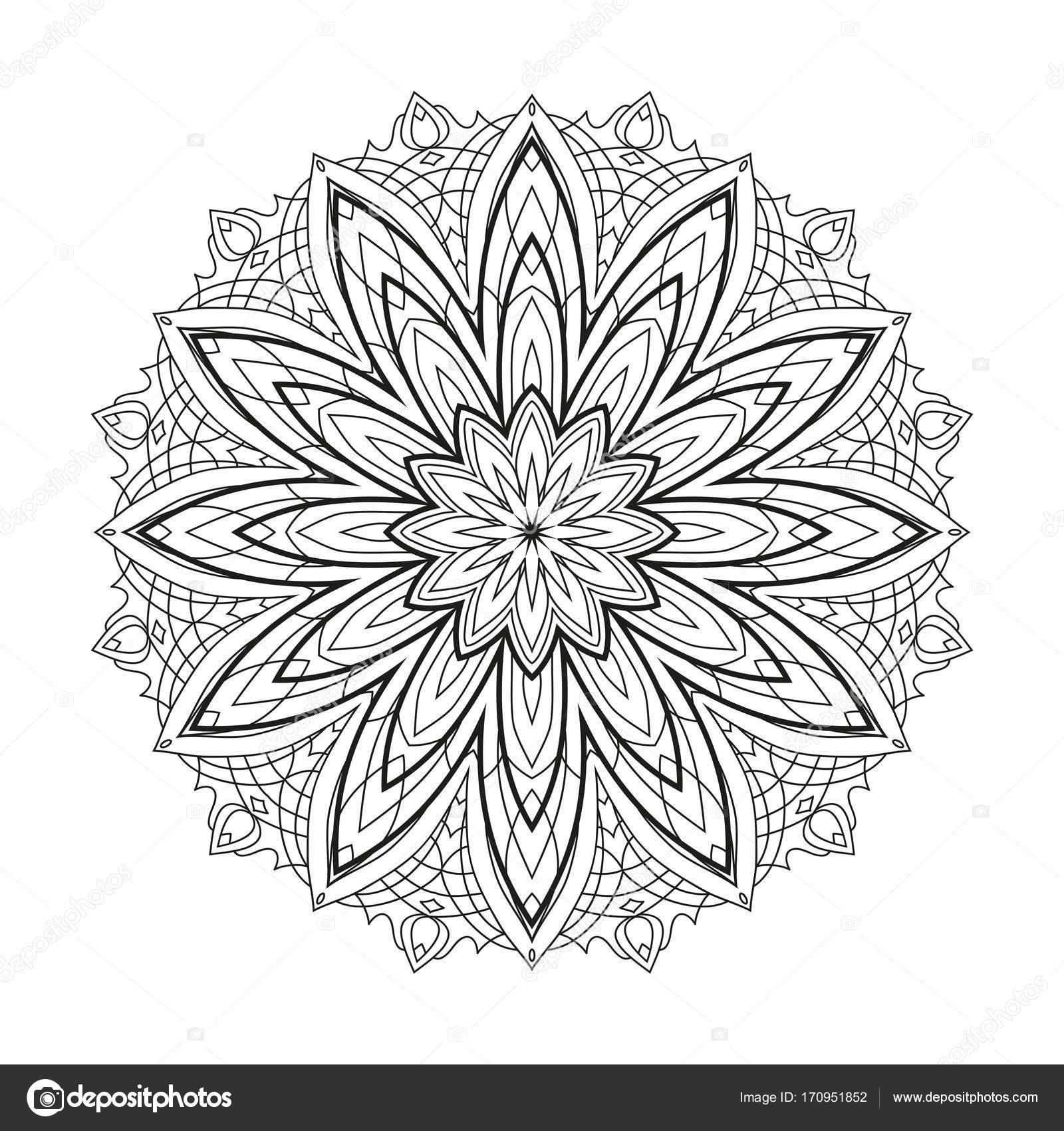 Mandala de flores vector geométrico monocromo está aislado en un ...