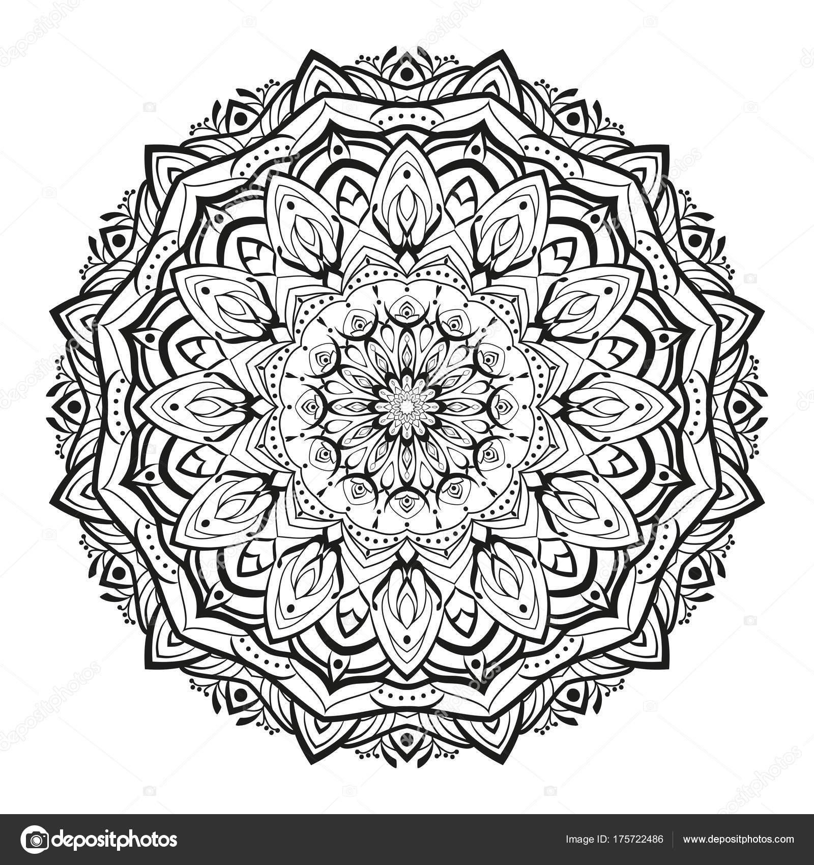 Mandala de monocromo de vector geométrico está aislado en un fondo ...